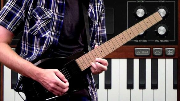 u Rock Guitar combina un controlador de guitarra con un poderoso sintetizador